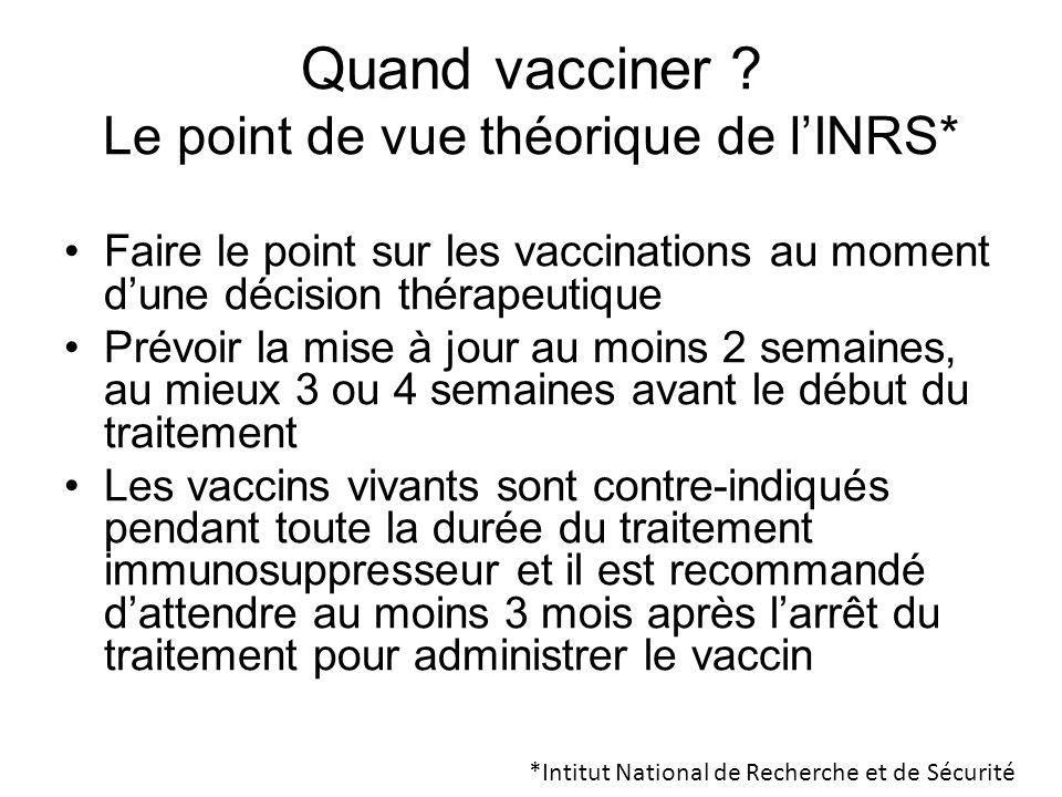 Quand vacciner Le point de vue théorique de l'INRS*