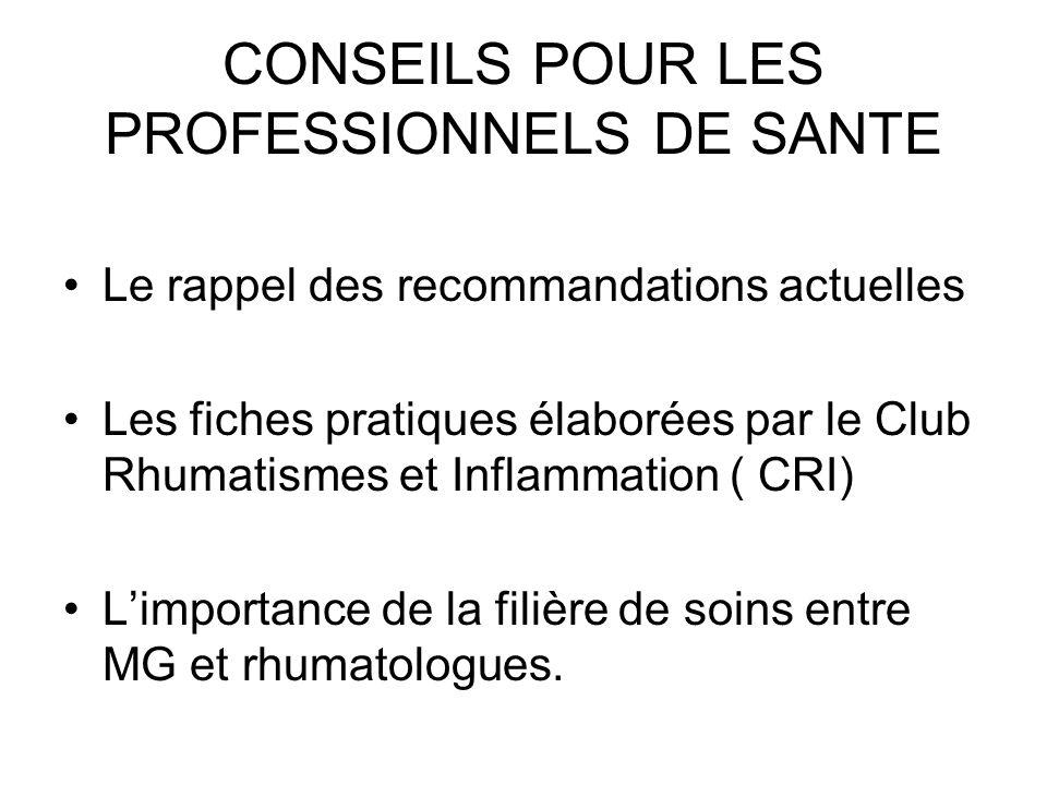 CONSEILS POUR LES PROFESSIONNELS DE SANTE
