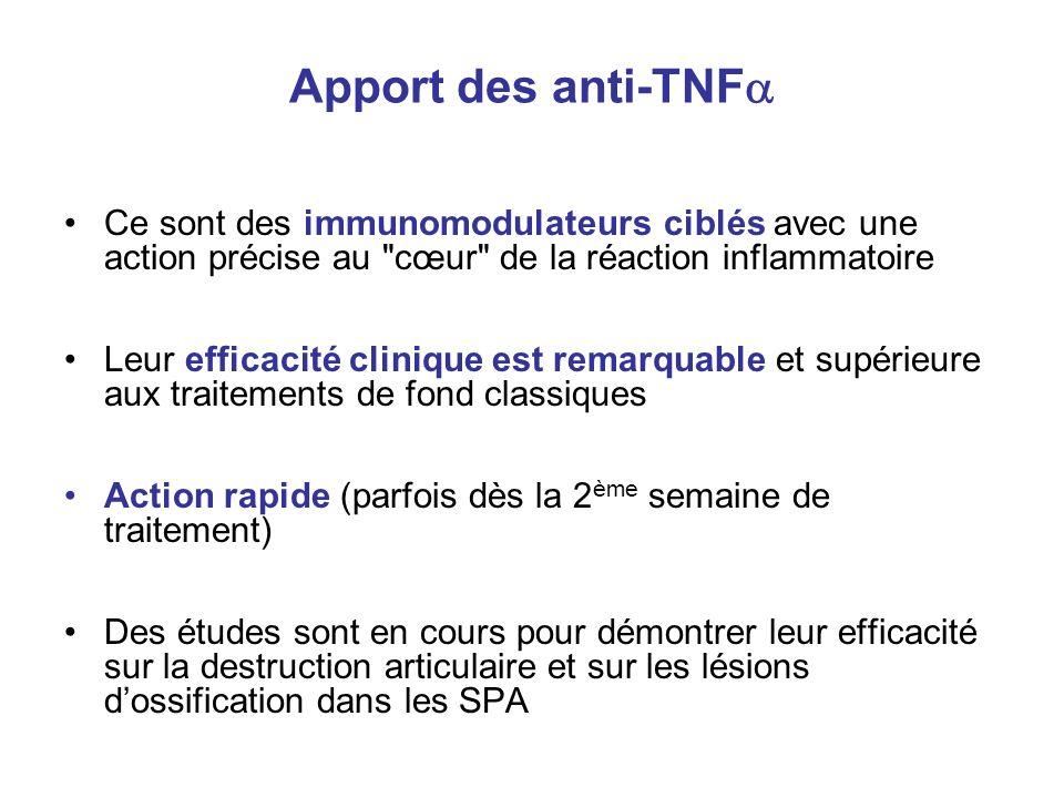 Apport des anti-TNF Ce sont des immunomodulateurs ciblés avec une action précise au cœur de la réaction inflammatoire.
