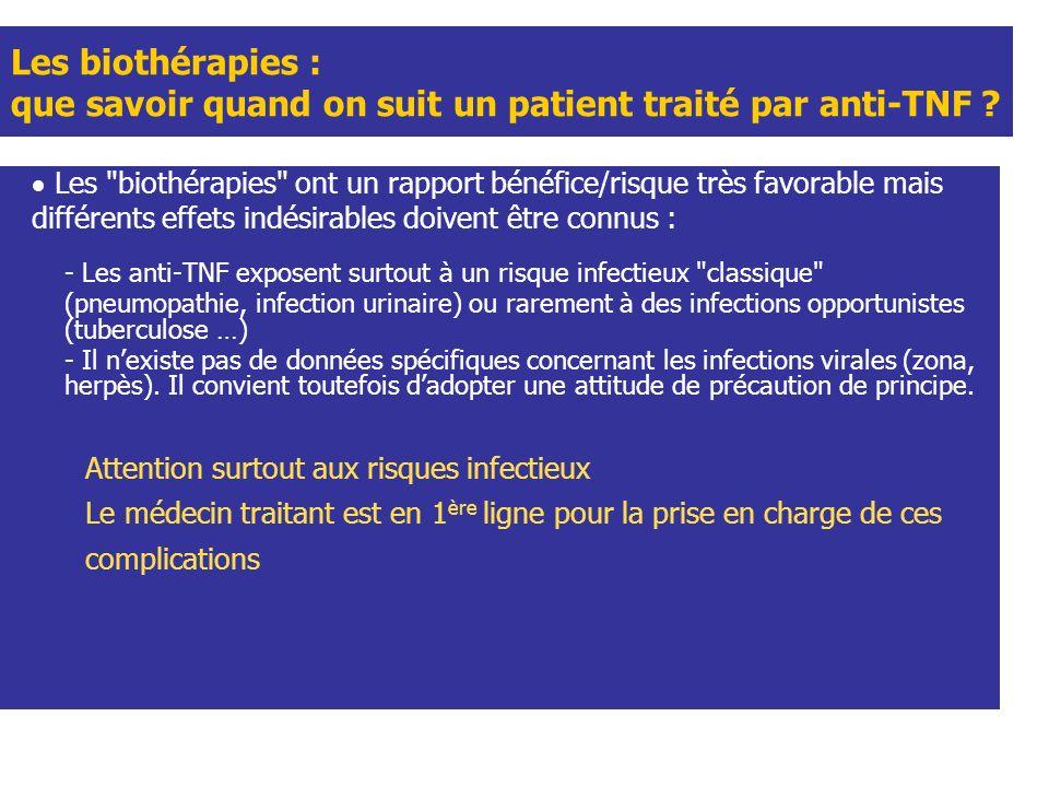 Les biothérapies : que savoir quand on suit un patient traité par anti-TNF