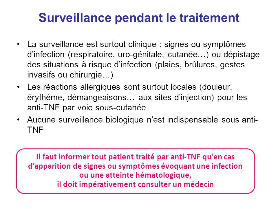 Surveillance pendant le traitement