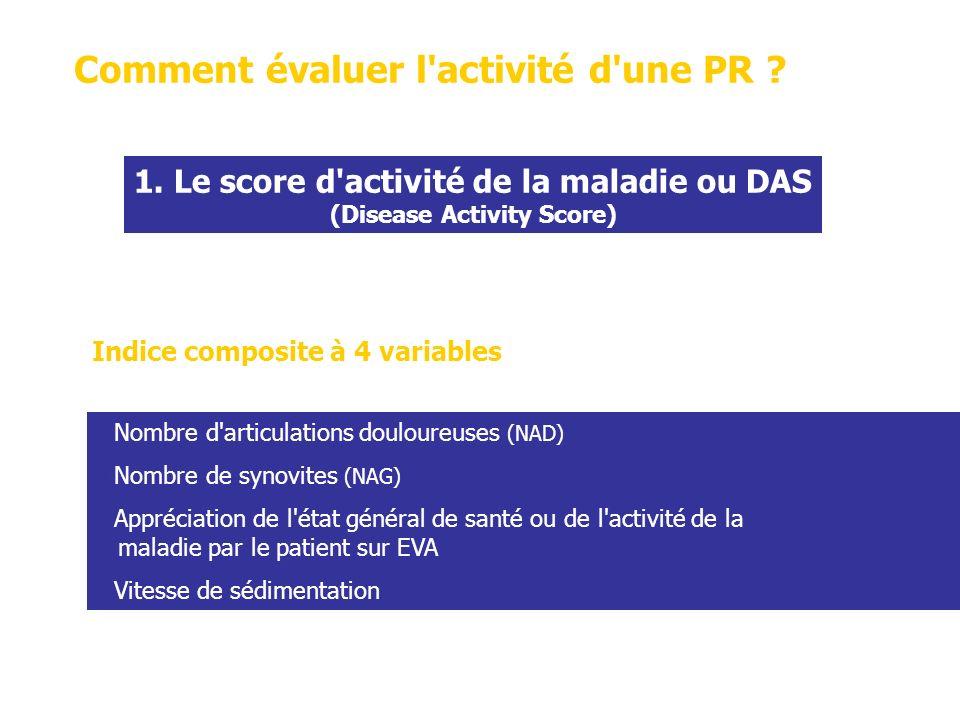 1. Le score d activité de la maladie ou DAS (Disease Activity Score)