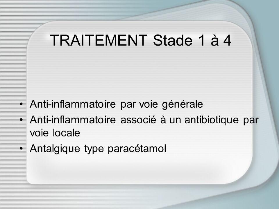 TRAITEMENT Stade 1 à 4 Anti-inflammatoire par voie générale