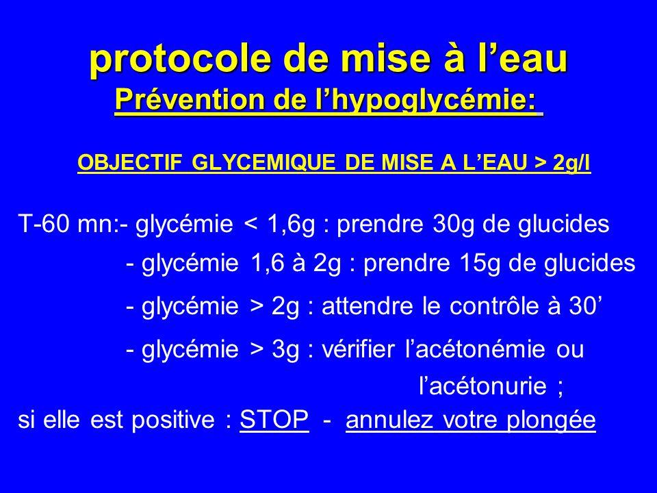 protocole de mise à l'eau Prévention de l'hypoglycémie: