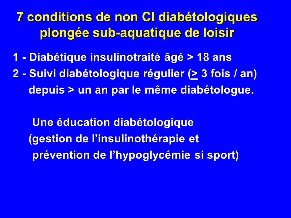 7 conditions de non CI diabétologiques plongée sub-aquatique de loisir