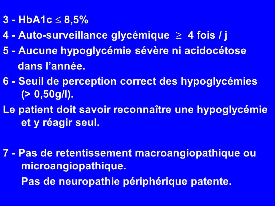 3 - HbA1c  8,5% 4 - Auto-surveillance glycémique  4 fois / j. 5 - Aucune hypoglycémie sévère ni acidocétose.