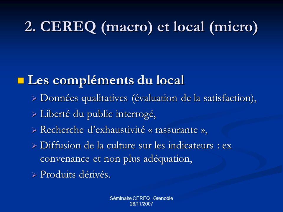 2. CEREQ (macro) et local (micro)
