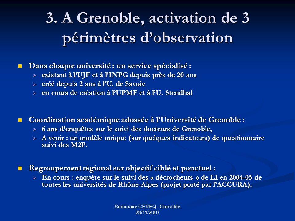 3. A Grenoble, activation de 3 périmètres d'observation