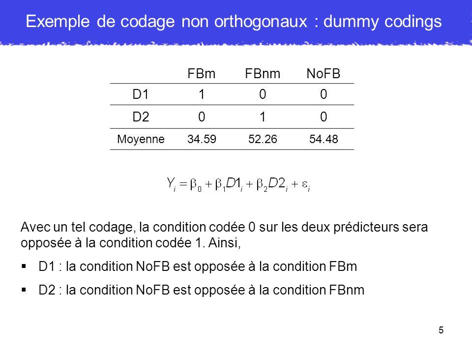 Exemple de codage non orthogonaux : dummy codings