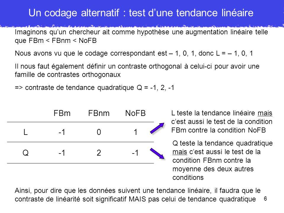 Un codage alternatif : test d'une tendance linéaire