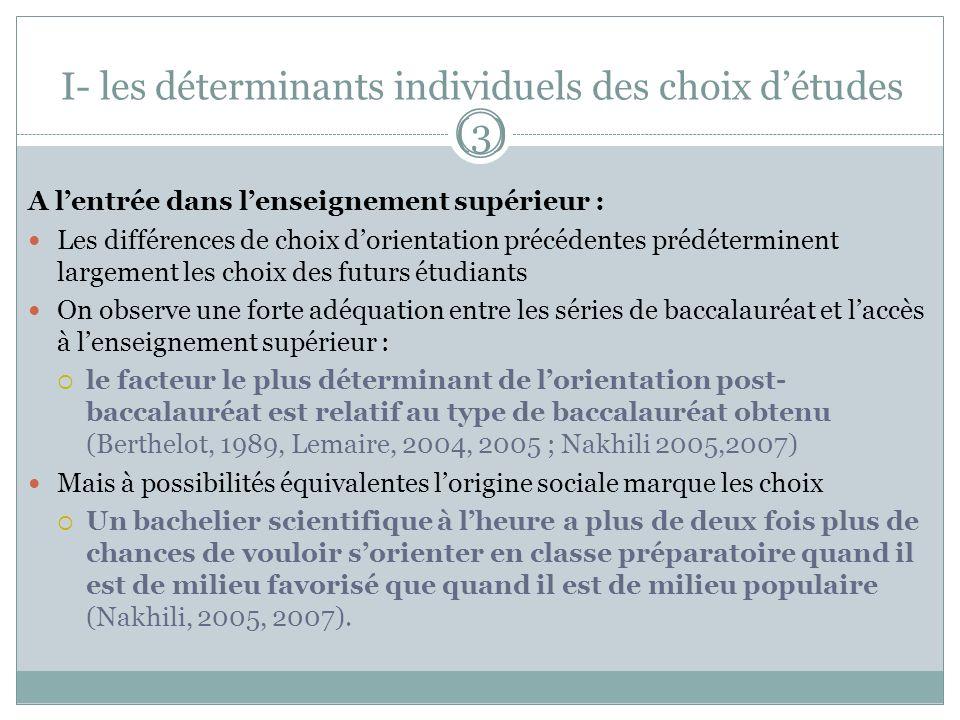 I- les déterminants individuels des choix d'études (3)