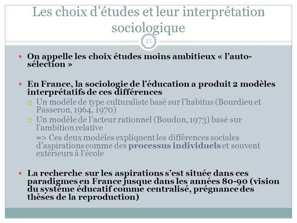 Les choix d'études et leur interprétation sociologique