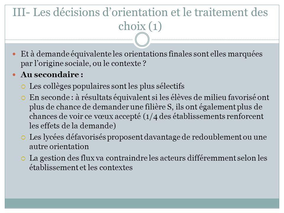 III- Les décisions d'orientation et le traitement des choix (1)