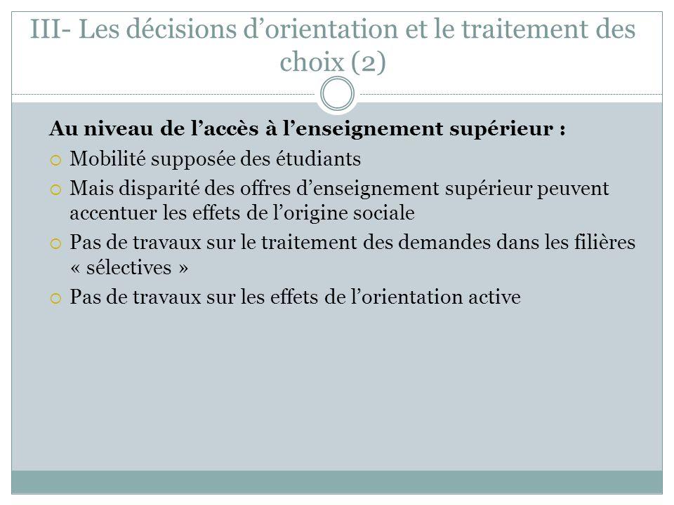III- Les décisions d'orientation et le traitement des choix (2)