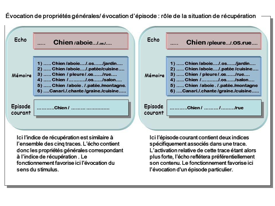 Évocation de propriétés générales/ évocation d'épisode : rôle de la situation de récupération