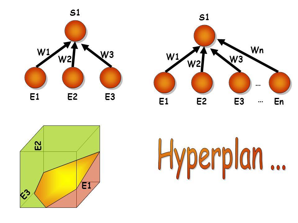 Hyperplan ... S1 E1 E2 W1 W2 W3 E3 S1 E1 E2 W1 W2 W3 E3 En … Wn E2 E1