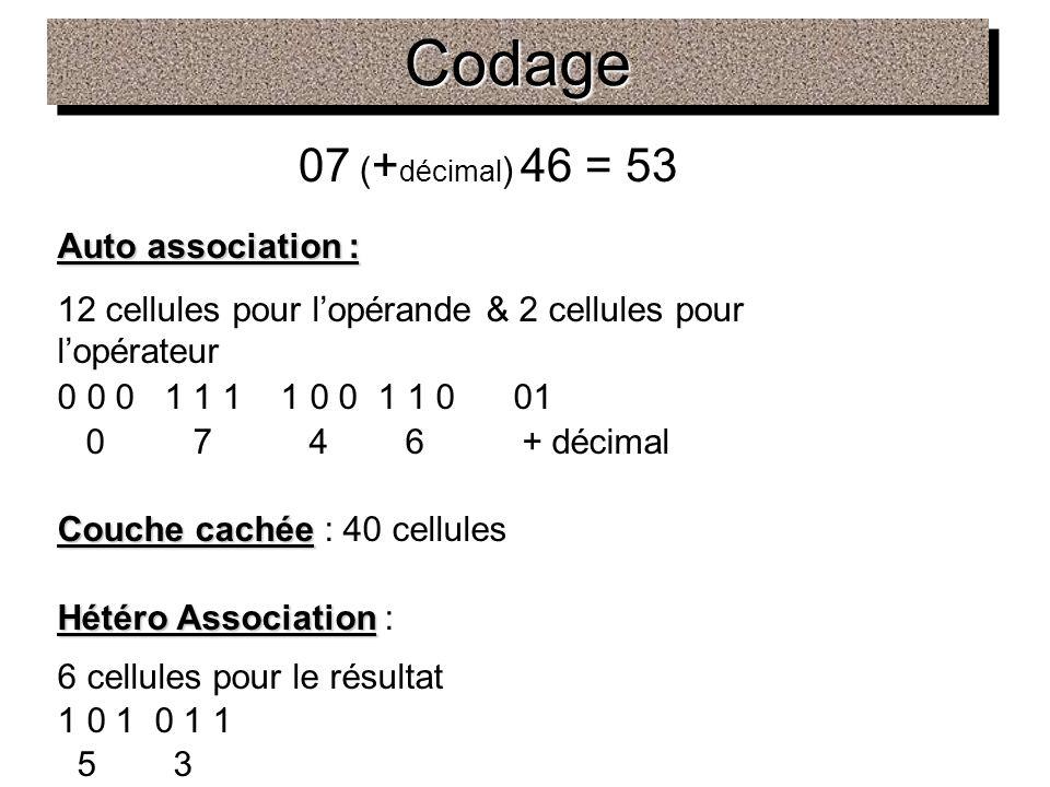 Codage 07 (+décimal) 46 = 53 Auto association :