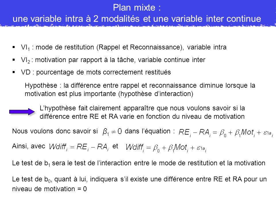 une variable intra à 2 modalités et une variable inter continue