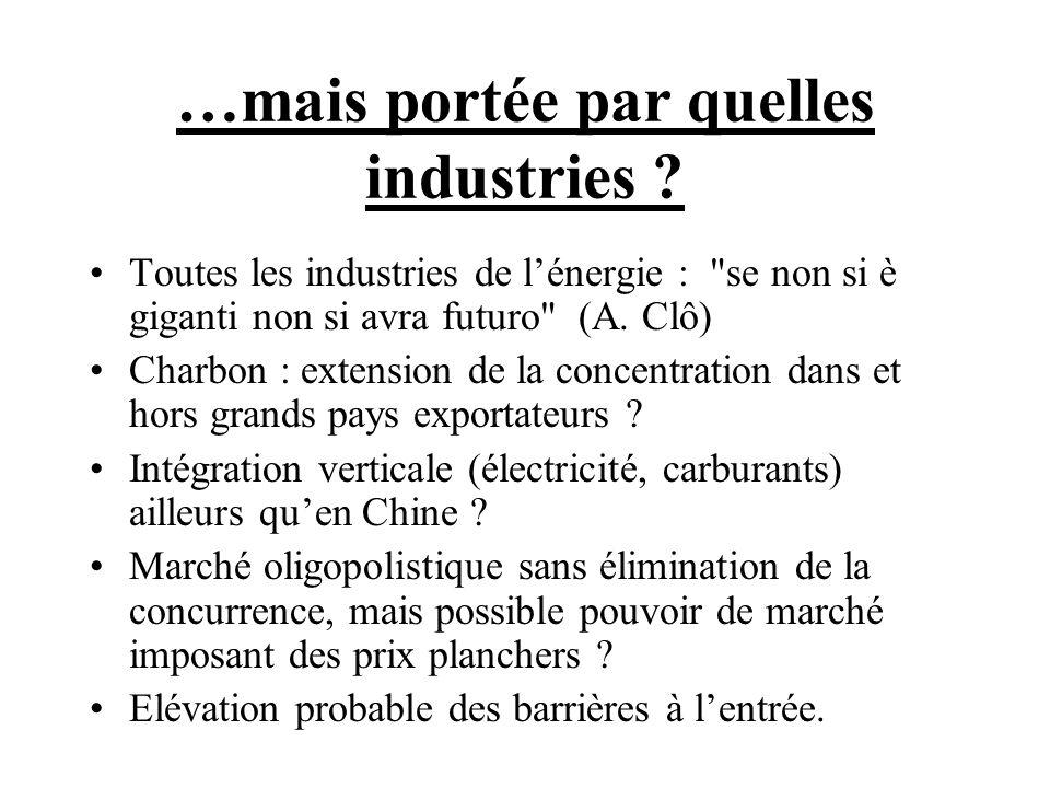 …mais portée par quelles industries