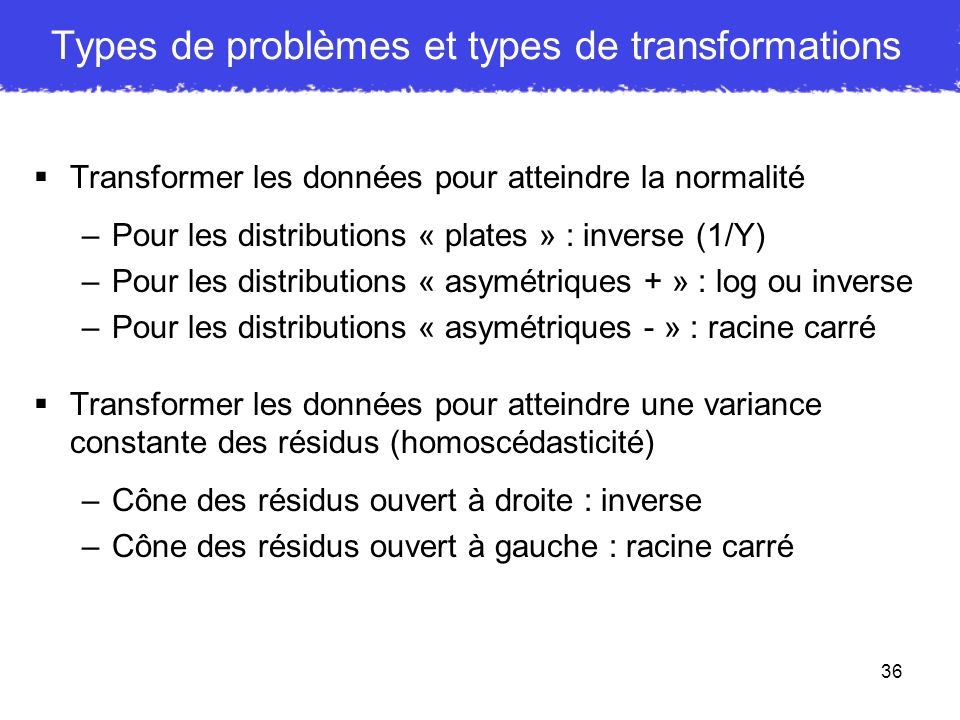 Types de problèmes et types de transformations