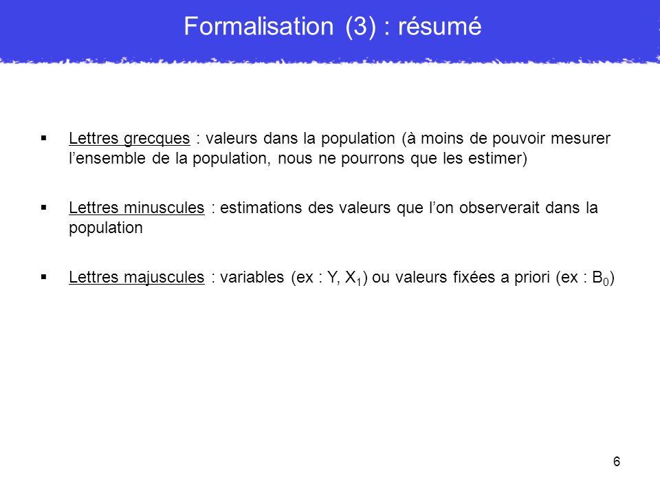 Formalisation (3) : résumé