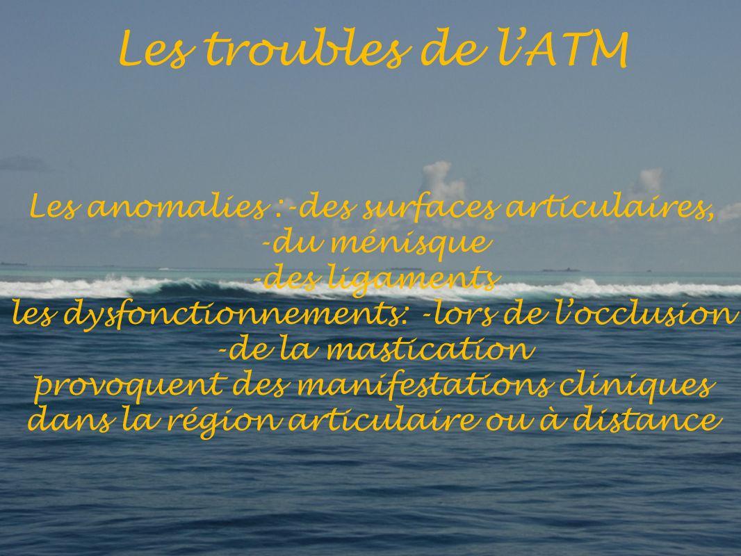 Les troubles de l'ATM Les anomalies :-des surfaces articulaires,