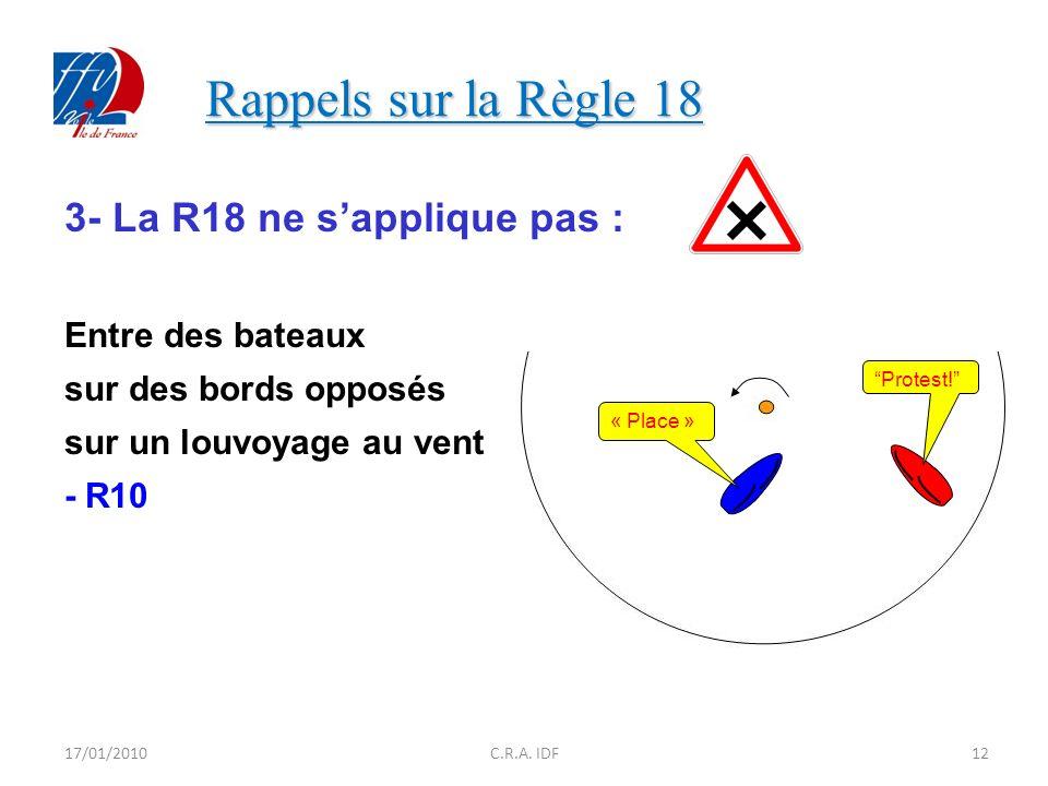 Rappels sur la Règle 18 3- La R18 ne s'applique pas :