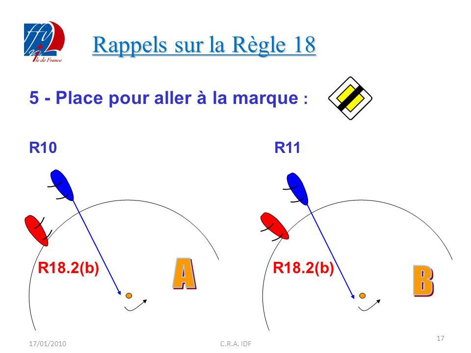 Rappels sur la Règle 18 A B 5 - Place pour aller à la marque : R10 R11