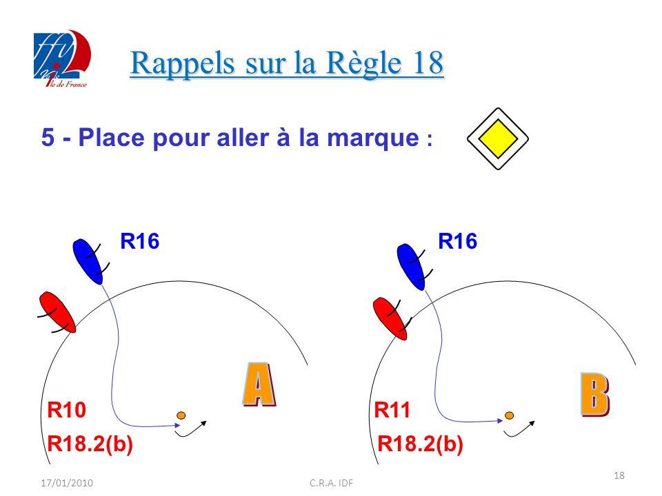 Rappels sur la Règle 18 A B 5 - Place pour aller à la marque : R16 R16
