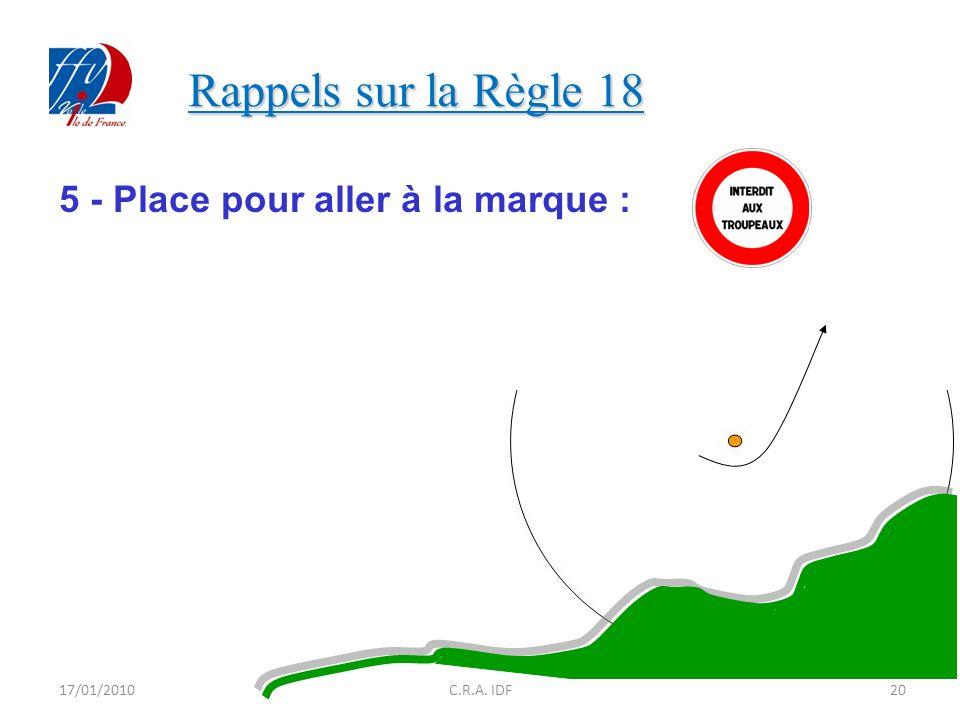 Rappels sur la Règle 18 5 - Place pour aller à la marque : 17/01/2010