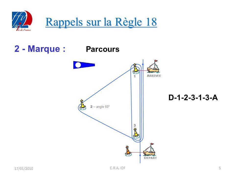 Rappels sur la Règle 18 2 - Marque : Parcours D-1-2-3-1-3-A