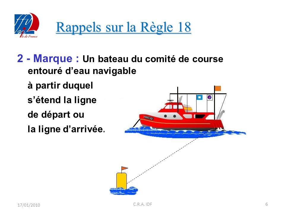 Rappels sur la Règle 18 2 - Marque : Un bateau du comité de course entouré d'eau navigable. à partir duquel.
