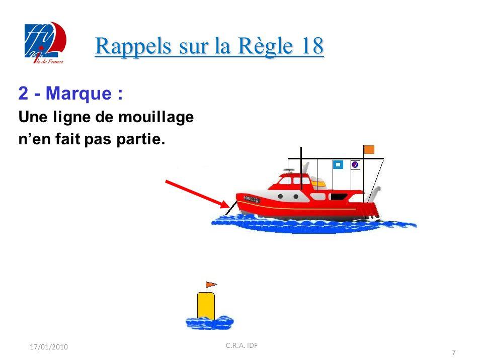 Rappels sur la Règle 18 2 - Marque : Une ligne de mouillage