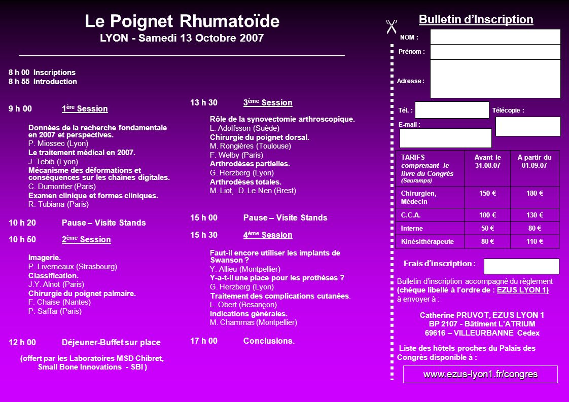Le Poignet Rhumatoïde  Bulletin d'Inscription