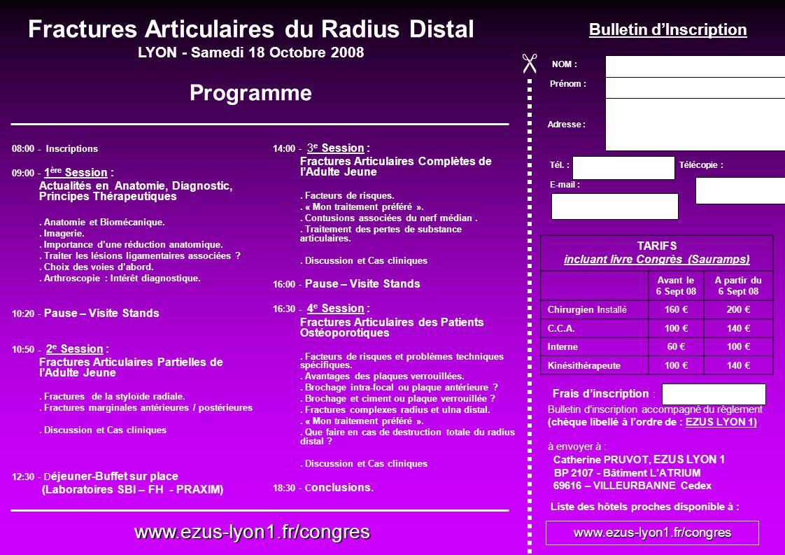 Fractures Articulaires du Radius Distal