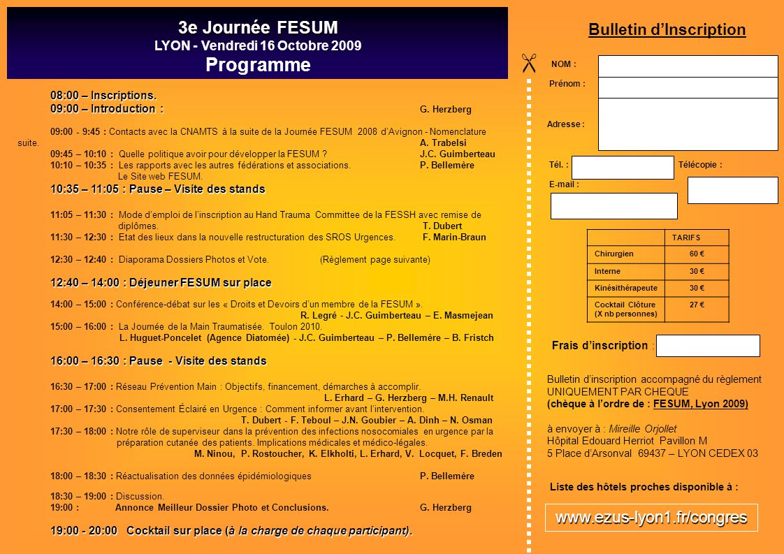  Programme 3e Journée FESUM Bulletin d'Inscription