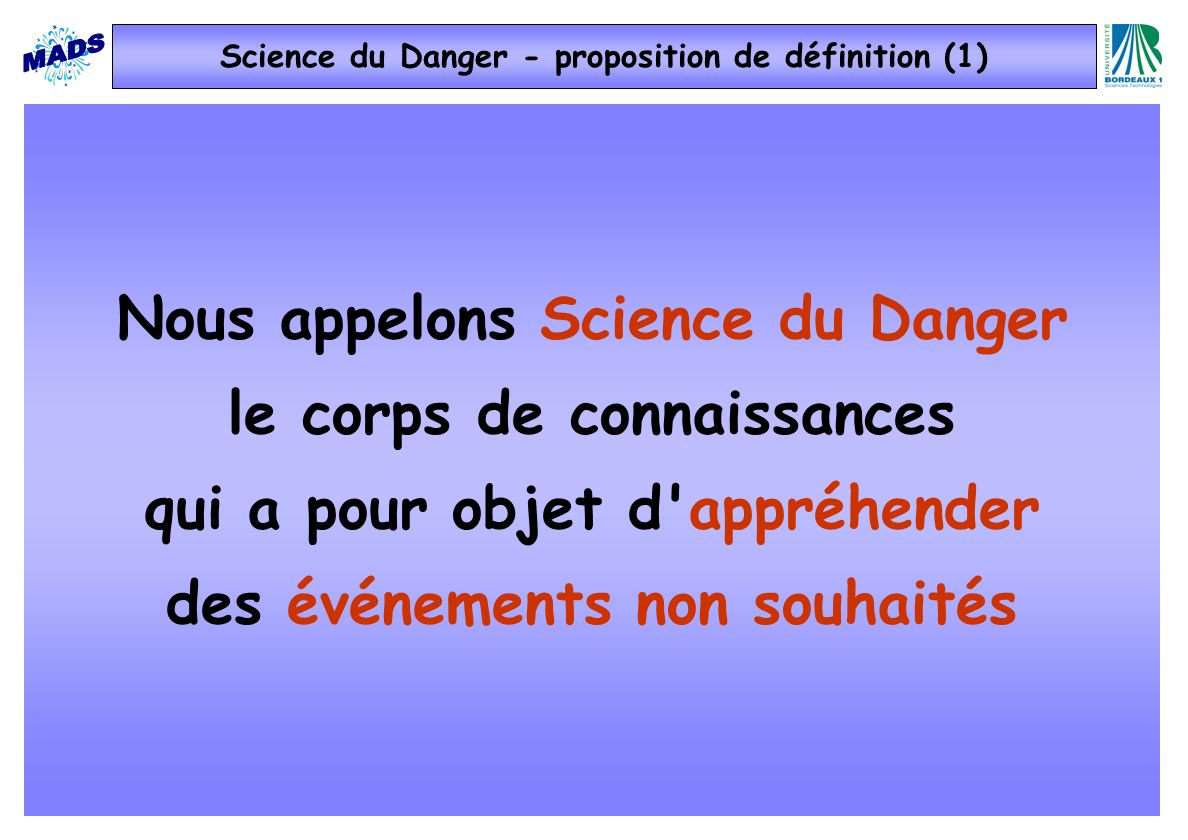 Science du Danger - proposition de définition (1)