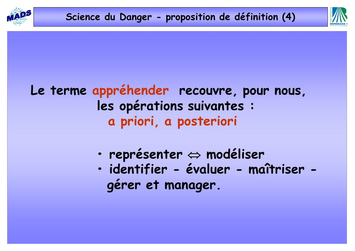 Science du Danger - proposition de définition (4)