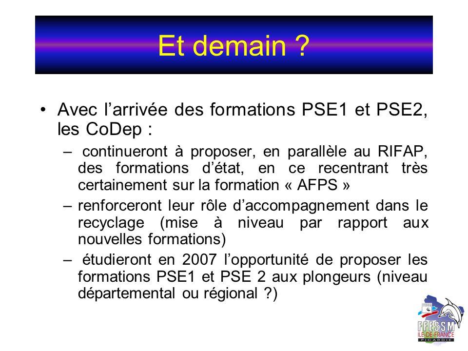 Et demain Avec l'arrivée des formations PSE1 et PSE2, les CoDep :