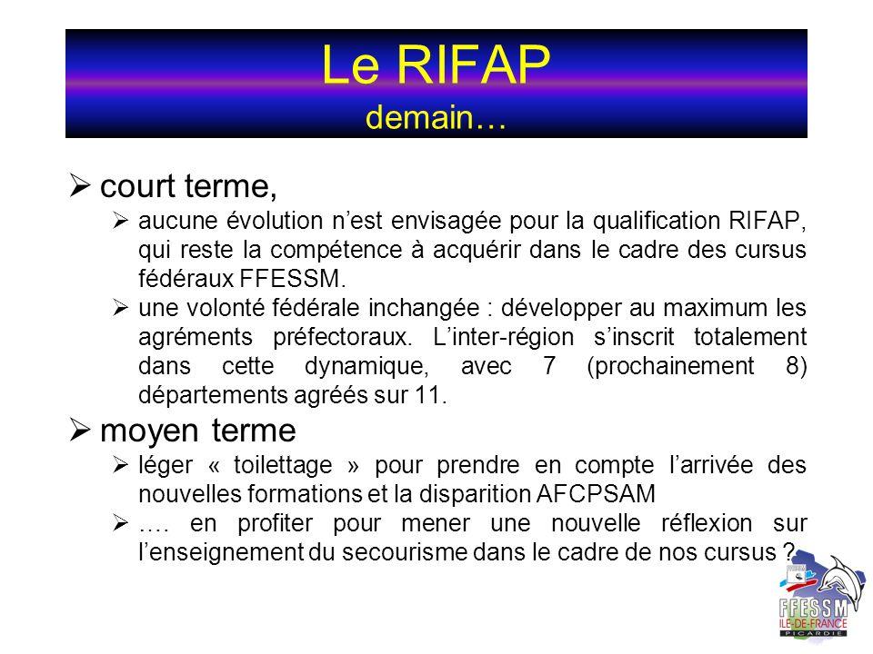 Le RIFAP demain… court terme, moyen terme