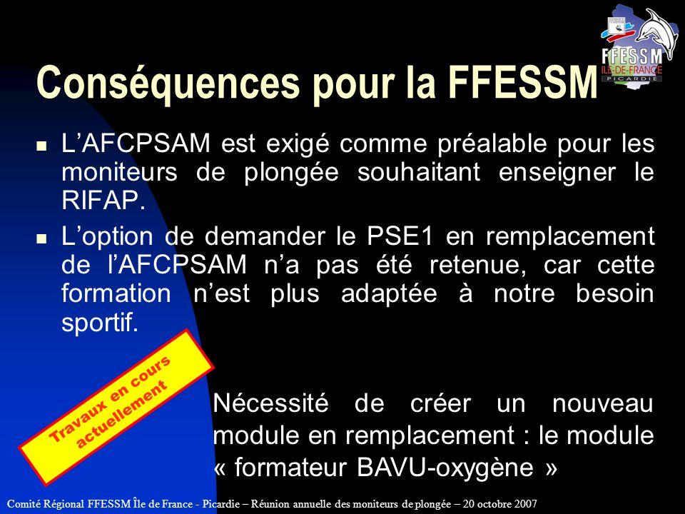Conséquences pour la FFESSM