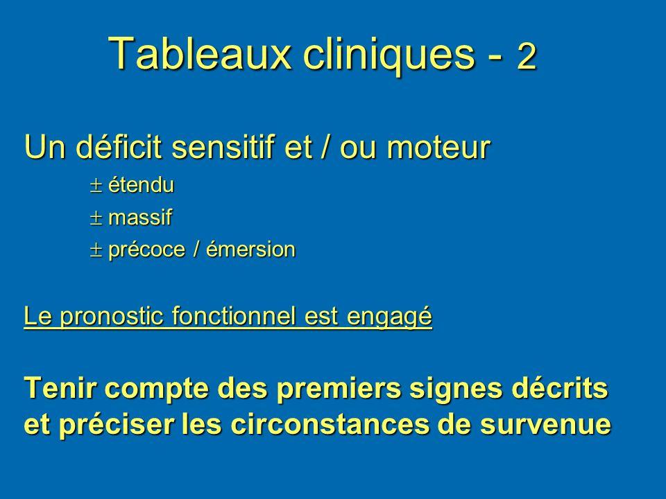 Tableaux cliniques - 2 Un déficit sensitif et / ou moteur