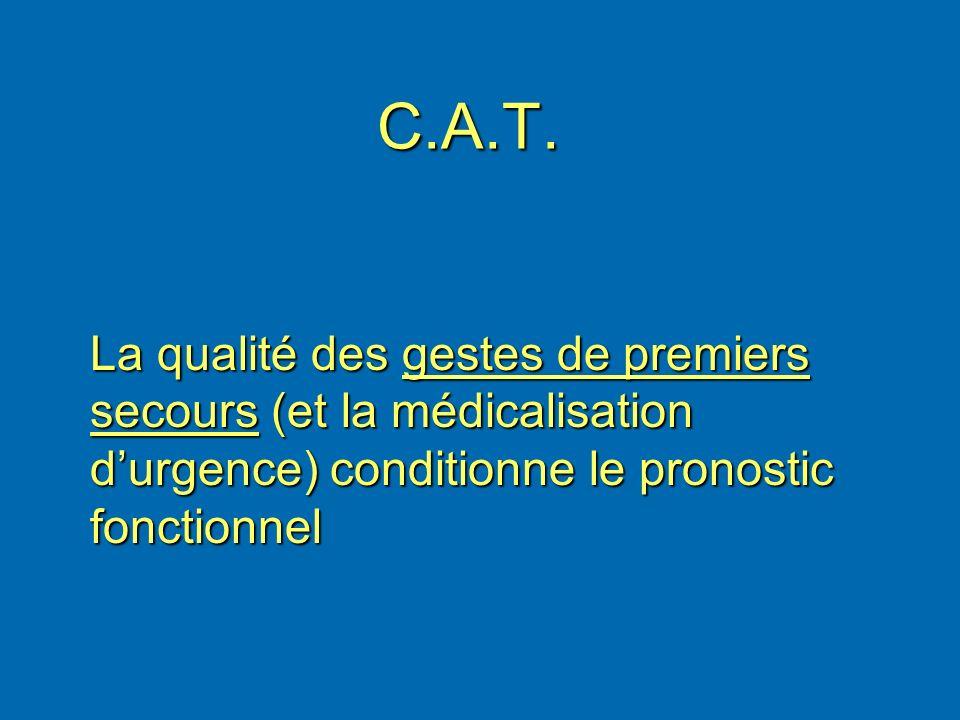 C.A.T.La qualité des gestes de premiers secours (et la médicalisation d'urgence) conditionne le pronostic fonctionnel.
