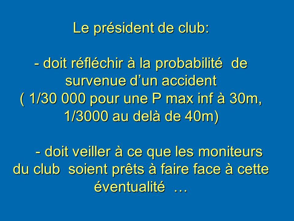 Le président de club: - doit réfléchir à la probabilité de survenue d'un accident ( 1/30 000 pour une P max inf à 30m, 1/3000 au delà de 40m) - doit veiller à ce que les moniteurs du club soient prêts à faire face à cette éventualité …
