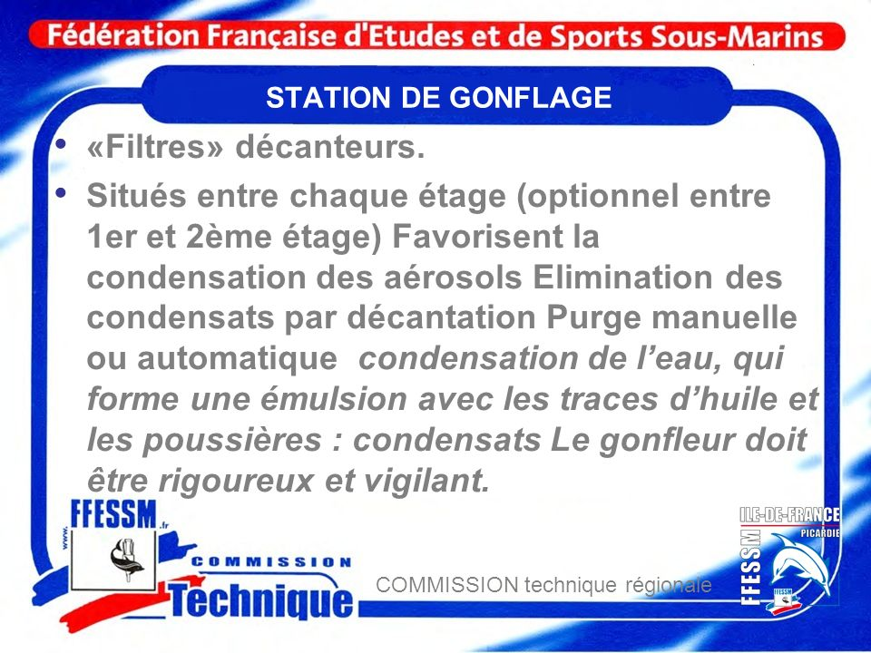 STATION DE GONFLAGE «Filtres» décanteurs.
