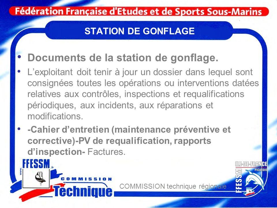 Documents de la station de gonflage.