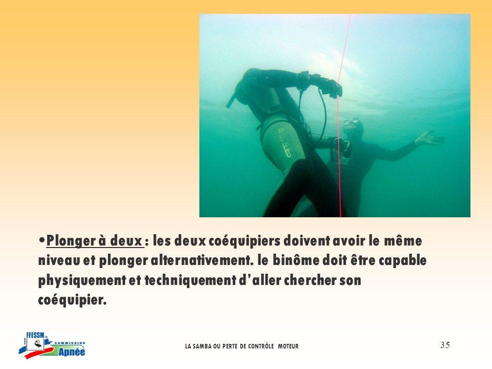 Plonger à deux : les deux coéquipiers doivent avoir le même niveau et plonger alternativement.