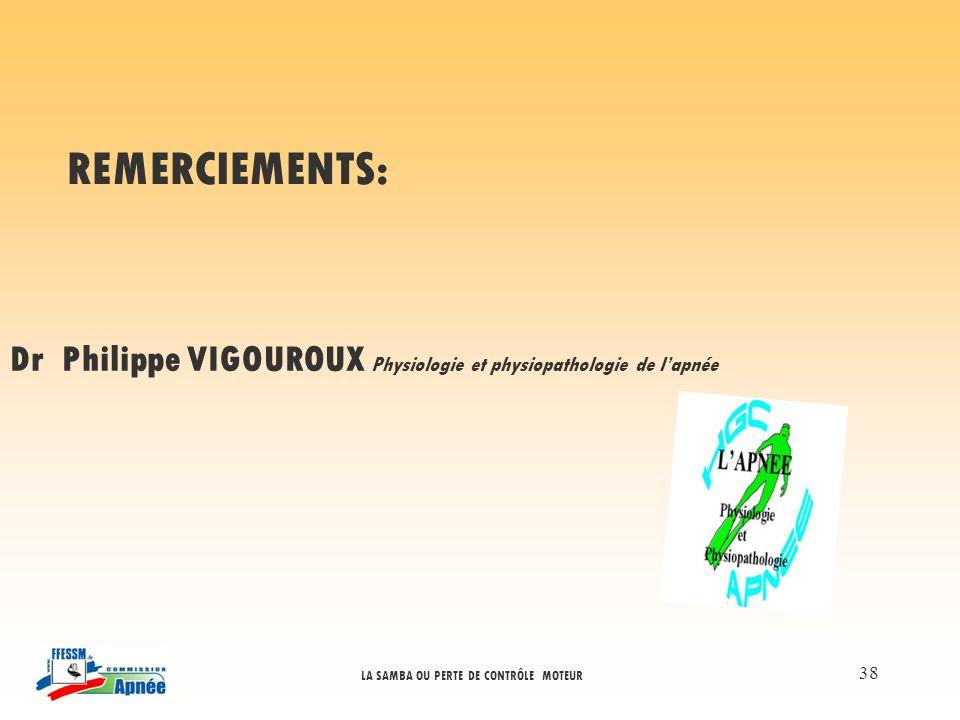 REMERCIEMENTS: Dr Philippe VIGOUROUX Physiologie et physiopathologie de l'apnée