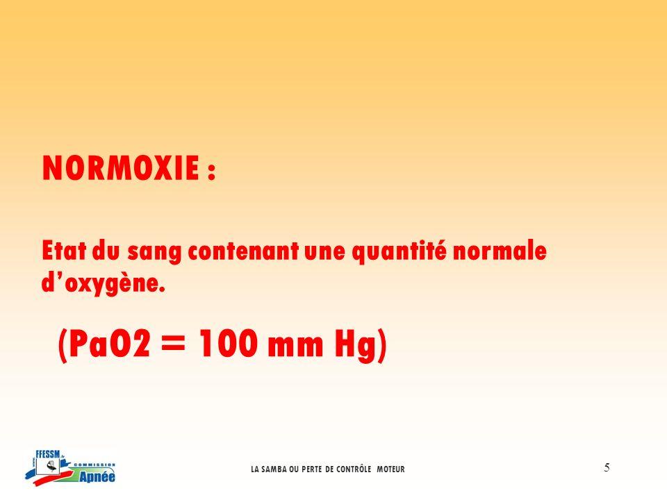 NORMOXIE : Etat du sang contenant une quantité normale d'oxygène. (PaO2 = 100 mm Hg)