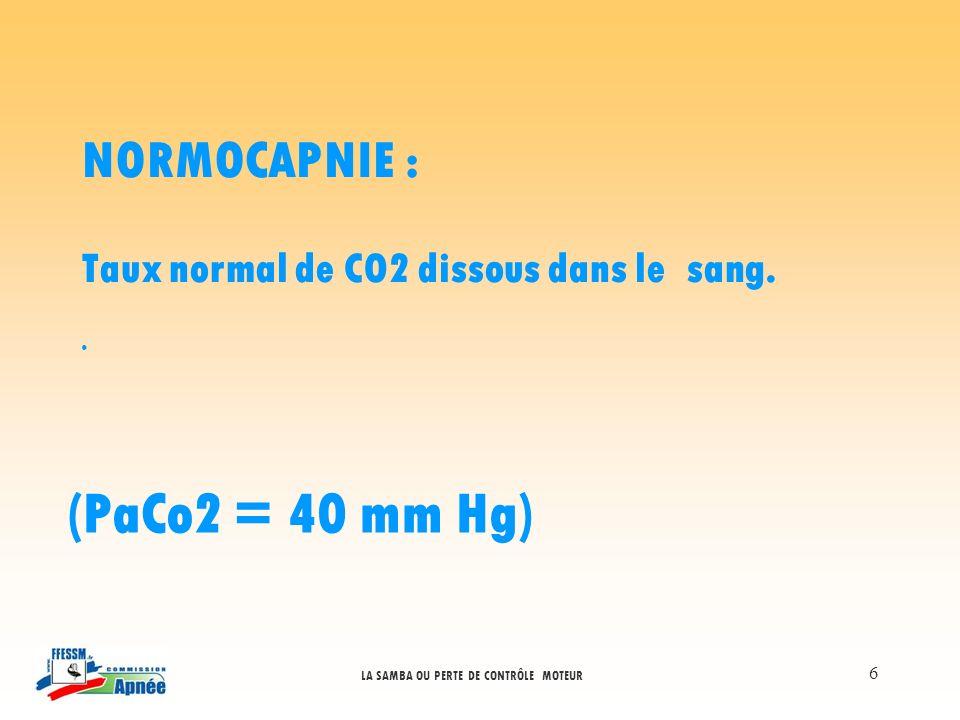 (PaCo2 = 40 mm Hg) NORMOCAPNIE :